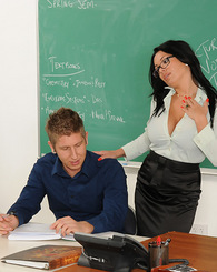 Professor Sienna West gets pounded on her desk by one of her students