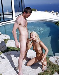 Amazing blond model getting fucked hard in mansion backyard