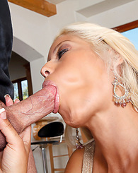 Busty latina Bridgette B sucks a big cock