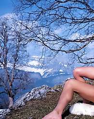 Amazing chick gets her ass fucked hard in a snowy mountain